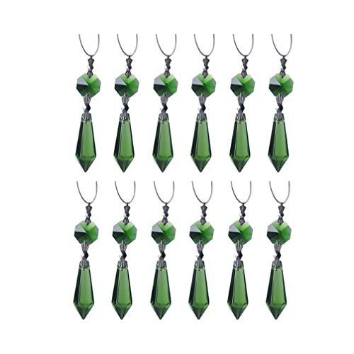 Cabilock 12 Stück Kronleuchter Eiszapfen Kristall Prismen Ersatz Octogan Kristall Perle Sonnenfänger Anhänger für DIY Vorhang Lampe Dekoration Grün