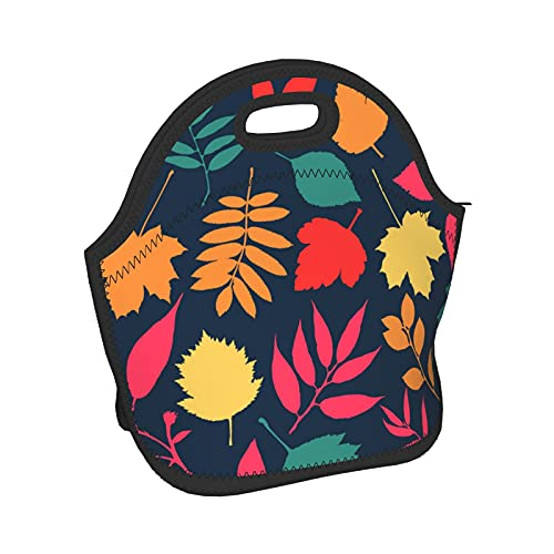 Colorful Autumn Maple Leaves Women Men Kids Lightweight Insulated Neoprene Lunch Bag Boxs,Durable Thermal Tote Bag Organizer Cooler Bento Bags Lunchbox Handbag For Work School