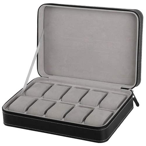 Kuingbhn Caja de almacenamiento de gafas portátil caja de reloj organizador de cuero PU ataúd con cremallera estilo clásico 10 rejillas multifuncional pulsera vitrina para gafas de sol