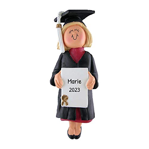 Personalized New Graduate Girl Christmas Ornament for Tree 2018 - Blonde Woman in Dress with Diploma - Under-Graduation PhD Masters Degree High End - Free Customization by Elves (Yellow Hair Female)