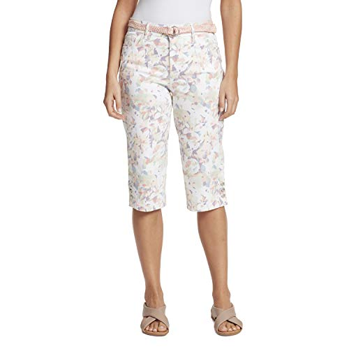 Gloria Vanderbilt Women's Plus Size Mila Belted Skimmer Short, Holli Hoopla Vintage White, 22W