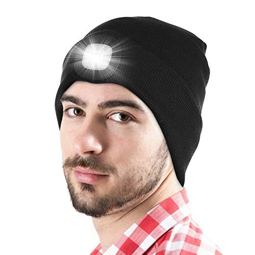 LED Beanie Mütze mit Licht, Unisex USB wiederaufladbare Hände frei 4 LED Scheinwerfer Kappe, wärmer Winter Strickmütze, einstellbare Helligkeit Nachtlicht Hut Taschenlampe Frauen Männer - Schwarz