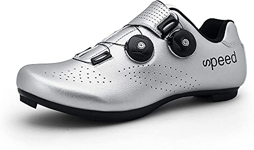 KUXUAN Zapatillas de Ciclismo para Hombre Zapatillas de Bicicleta de Carretera con Zapatillas SPD Peloton con Hebilla Delta Compatible para Carreras de Equitación en Interiores,Silver-37EU