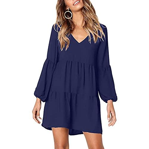 Eaylis Damen Mode Einfarbiges Kleid Kleid mit V-Ausschnitt Laternenärmel Kleid Fließendes, lockeres Kleid Ärmelloses/langärmliges Kleid