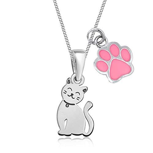 Pfötchen Katze Anhänger mit Halskette 925 Echt Sterling Silber Kätzchen Kette für Mädchen Kinder (Pfote Rosa, 40)