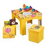 Relaxdays Sitzgruppe Kinder, faltbar, Kindertisch, Sitzhocker mit Stauraum, Sitzgelegenheit Kinderzimmer, Hawaii, gelb