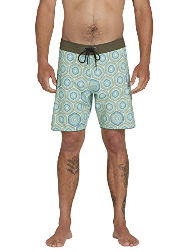 Volcom Men's Sun Medallion Stoneys 18' Stretch Boardshort, Resin Blue, 32