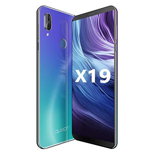 CUBOT X19 64GB 5.93-Inch FHD+ Android 9.0 4G Smartphone Unlocked with 4GB RAM, Dual Sim, 4000mAh Battery, 16MP Camera, Fingerprint Sensor,Face ID SIM-Free Moible Phone(Aurora Blue)