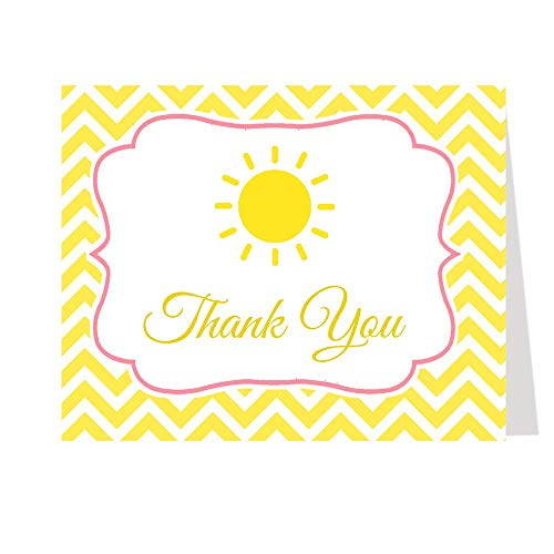 Sunshine Thank You Cards My Little Sun Ray of Yellow Chevron Stripes Thanks Bright Yellow Pink Girls It's a Girl Fun Unique Sun White Custom Printed Blank Inside Folding Notes (50 Count)
