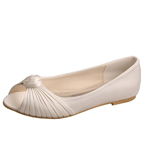 Wedopus MW989 Women's Pleating Peep Toe Ballet Flats Satin Pumps Shoes for Bride Size 5 Ivory