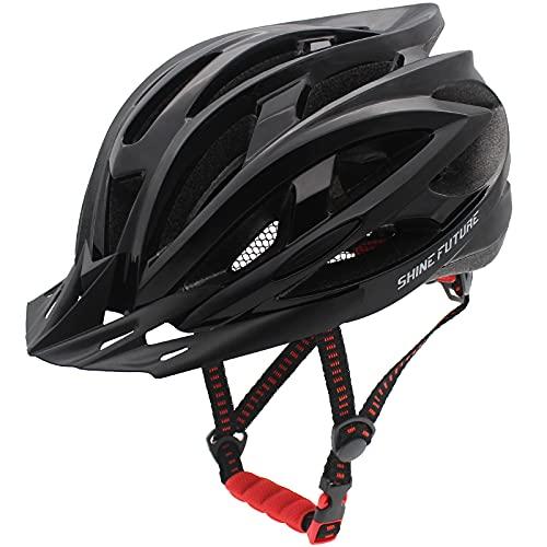 Casque de Cyclisme Adulte, Casques de vélo légers réglables pour Hommes et Femmes, Casque de vélo de Route et de Montagne avec visière détachable et éclairage arrière LED (Noir)