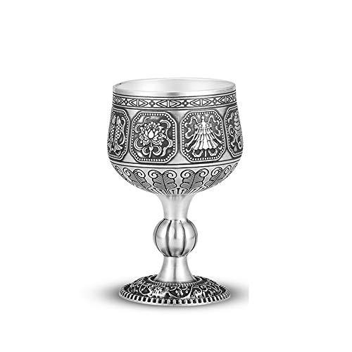 XXSC-ZC Copa de Vino de Plata esterlina, Vino Tinto Champagne Gin Gin Sherry Cocktail Glass, diseño Original auspicioso Ocho patrón de Tesoro, Adecuado para los espíritus,Do The Old