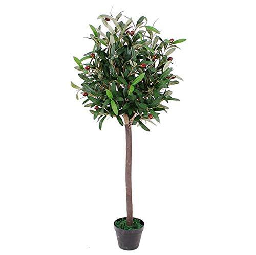 Künstlicher Oliven-Formschnitt-Obstbaum, schwarzer Kunststofftopf, 90 cm