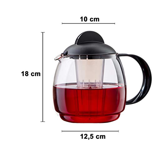 Boral - Tetera (Apta para microondas, Cristal, 1,8 L, con colador ...