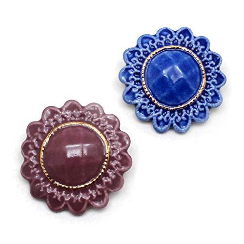 有田焼 アンティークボタン ブローチ:gargle(ガーグル) カラー:ワイン