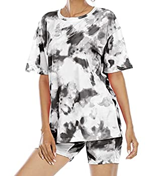 Tie-Dye Outfits Two-Piece Shorts Set - Women Biker Short Sets 2 Piece Outfits Set Summer Tops and Shorts