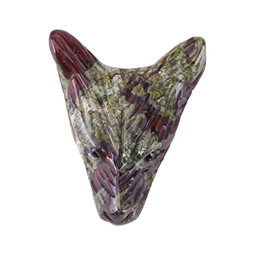 Colgante en Forma de Cabeza de Lobo de 1 Pieza, Encanto de Piedra de Sangre de dragón Natural, pequeño Adorno