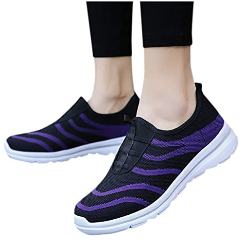 SOFIALXC Walking Shoes for Women, Sneakers Walking Lace Up Running Shoes Wedge Heel Lightweight Breathable Mesh Sneakers