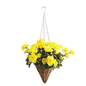 Bo Lala Fake Silk Flower Azalea Hanging Wicker Cone Flowerpot Artificial Flowers Rhododendron Yellow