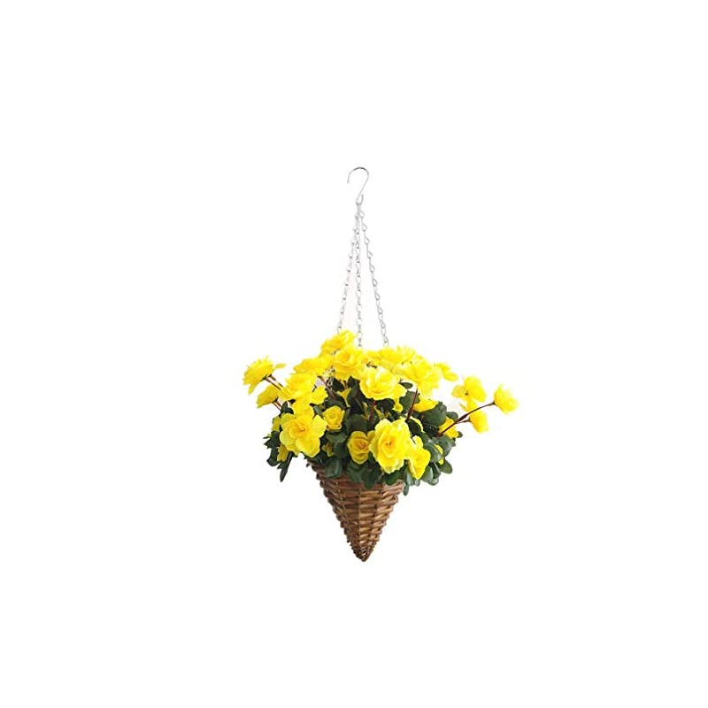 silk flower arrangements bo lala fake silk flower azalea hanging wicker cone flowerpot artificial flowers rhododendron yellow