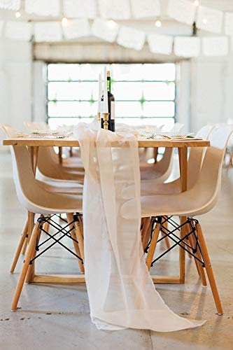Table Runner Chiffon Bulk Silk Champagne Event Party Supplies Table Cloth Romantic Wedding Decor Handmade Chiffon Velvet Table Runner Boho Vintage Woodland (Champagne, 144 in / 366 cm)