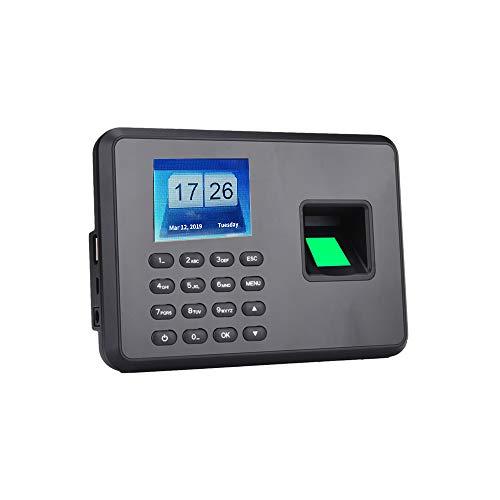 Walory Maschine Einchecken, Intelligente Biometrische Fingerabdruck-Passwort Anwesenheitsautomat Mitarbeiter Check-In Recorder 2,4-Zoll-LCD-Bildschirm Dc 5V Zeiterfassungsautomat Schwarz Eu-Steck