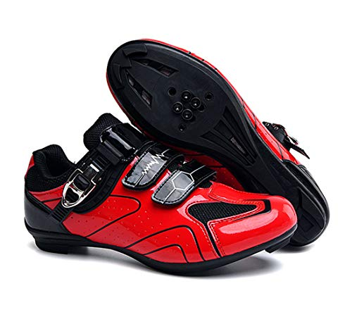 Cool-CZQ Fahrradschuhe Unisex Erwachsenen Rennradschuhe (46,Rot)