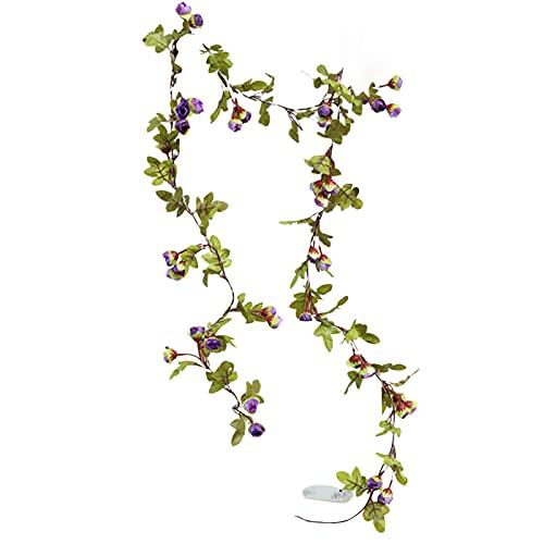 CJFael Vid artificial falso con luz LED de flores artificiales ornamentales iluminación de plástico alimentado por pilas lámpara de hadas para ventana, jardín, boda, fiesta, decoración púrpura