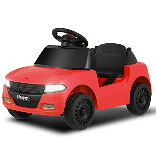 Uenjoy 6V Kids/Babies Ride On Car Battery Operated Electric Cars for Boys&Girls, with Storage Space, Headlight, Music& Horn, Water Cup Slot, Seat Belt, Red.