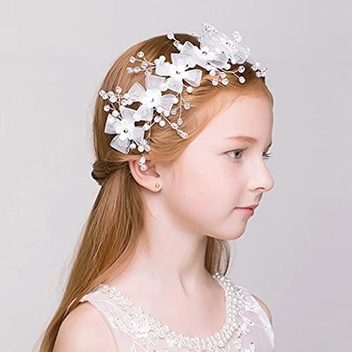 IYOU Princesa Flor Blanca Headpiece Crystal Hair Dress Rhinestone Nupcial Boda Accesorios para el Cabello para Niñas