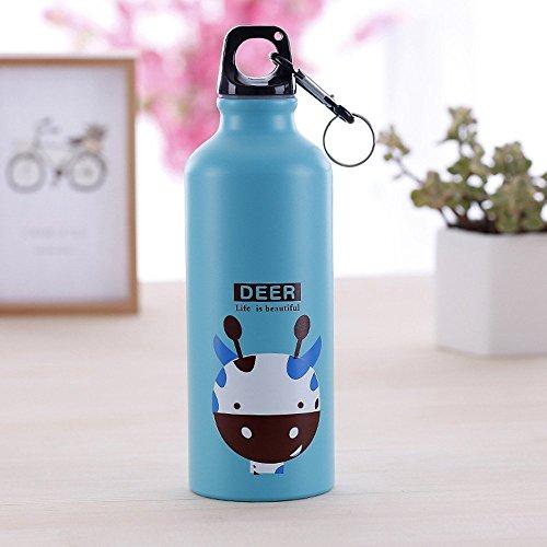 OnePine 500ml Botella de Agua Deporte,Botella de aleación de Aluminio portátil de Dibujos Animados, para Ciclismo, Viajes, Oficina, Picnic (Azul)
