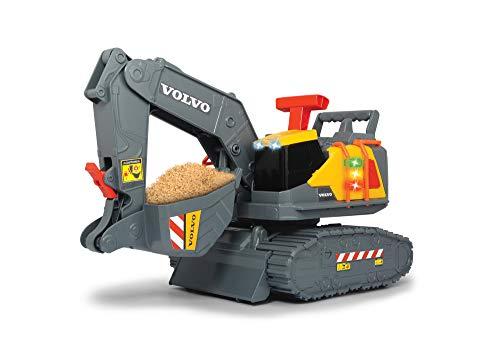 Dickie Toys Volvo Spielzeug Bagger mit Gewichtserkennung, Spielzeugbagger erkennt 3 verschiedene Gewichtsstufen, bewegliche Schaufel und Schaufelarm, Licht & Sound, inkl. Batterien, 30 cm