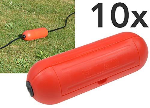 Outdoor Sicherheitsbox IP44 Schutzbox Safe-Box für Kabelverbindung Spritzwasserschutz Schutzkaspel für Verlängerungskabel und Stromstecker im Aussenbereich (10 Stück, Rot)