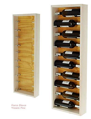 ZonaWine - Soporte botellero de Pared en 5 Colores a Elegir /10 Botellas por Mueble. Medidas 107/37/12 cm Fondo - Blanco-Pino
