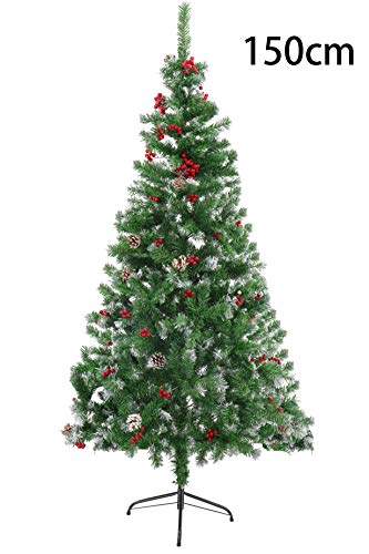 Sutekus クリスマスツリー ツリー スノータイプ 庭飾り 赤い実 松かさ付き 赤い実 (150センチ)