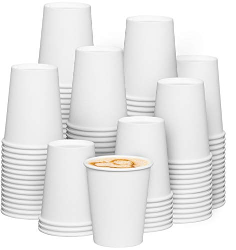 [300 Pack] 8 oz. White Paper Hot Coffee Cups