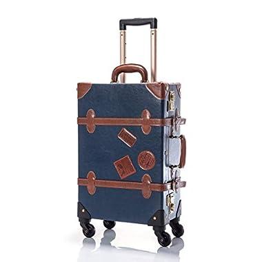 UNIWALKER Women Blue Old Vintage Trunk Luggage TSA Small Travel Suitcase for Men (26 , Navy Blue)
