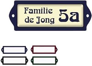 Naambord Emaille-look 3x8CM Met Beige Achtergrond , naamplaatje, naambordje brievenbus, huisnummer brievenbus, naambordje ...