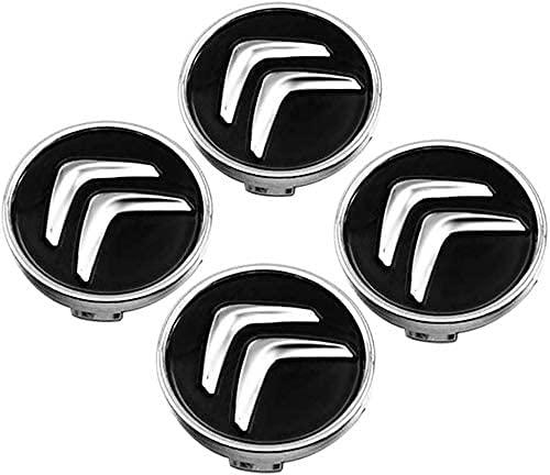 4 Pcs Tapacubos De Rueda Adecuado para Citroen C2 C3 C4 C5 C1 Elysee Berling Xsara Picasso Saxo Cactus Ds3 Ds4 Ds6 60MM, Tapas Centrales para Llantas para Coches con El Logo Efecto 3D