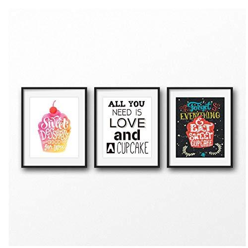 MULMF Alles wat u nodig hebt is liefde en een cupcake kunstdruk wandafbeeldingen desserts poster canvas schilderij dessert winkel decoratie- 50X70Cmx3 No Frame