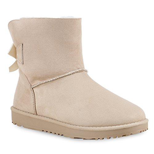 Warm Gefütterte Damen Stiefel Schlupfstiefel Boots Stiefeletten Schuhe 130006 Beige Schleife 38 Flandell