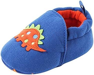 LHWY Recien Nacido Primeros Pasos Zapatos Suela Blanda Zapatillas Estar por casa Invierno para Niños Niñas Bebé Unisex Antideslizante Acolchado Calentar Botas Comodo Calzado (Azul 12)
