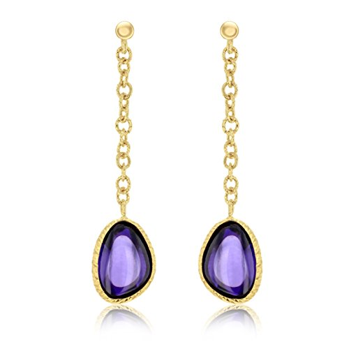 Carissima Gold 9ct Yellow Gold Hydro Amethyst Drop Earrings