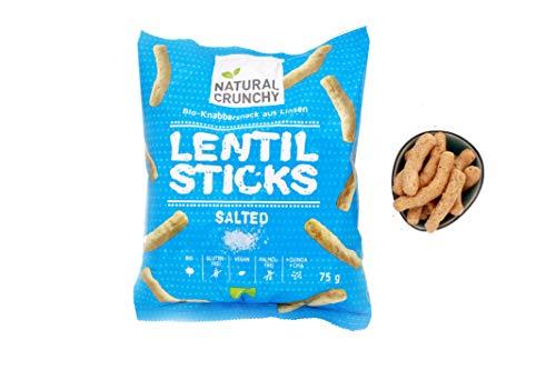 8x LENTIL STICKS SALTED - Proteinreicher Bio - Knabbersnack aus Linsen - vegan, glutenfrei, palmölfrei