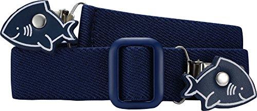 Playshoes 601220 Unisex - Elastischer Kinder Gürtel mit Clips in Haiform, Marine, 116-140
