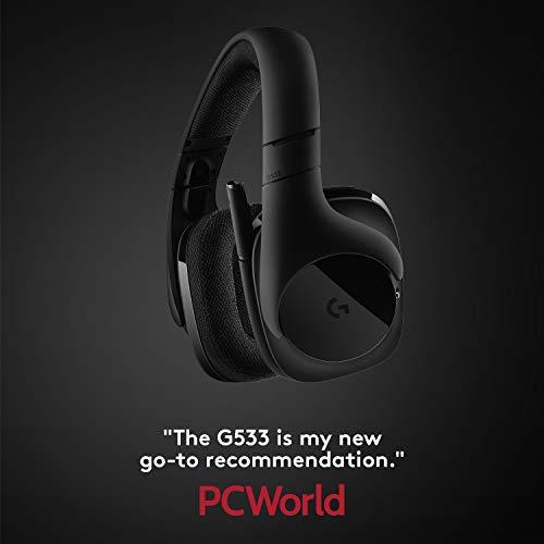Logitech G533 Binaural Diadema Negro - Auriculares con micrófono (PC/Juegos, 7.1 canales, Binaural, Diadema, Negro, Inalámbrico)