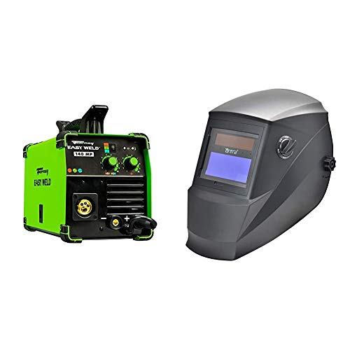 Forney Easy Weld 140 MP, Multi-Process Welder & Antra Welding Helmet AH6-260-0000 Solar Power Auto Darkening Wide Shade Range 4/5-9/9-13 with Grinding 6+1 Extra lens covers Stable