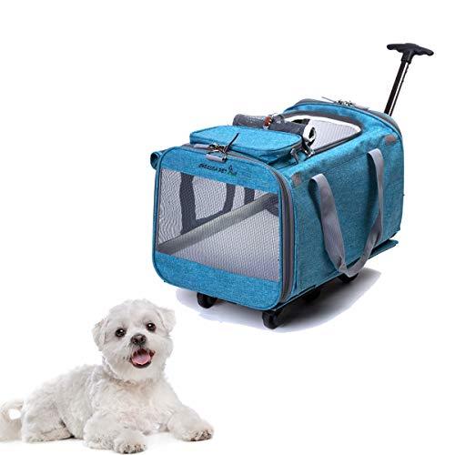 Tineer Multifunktions-Handtasche Pet Dog Travel Carrier Kinderwagen mit abnehmbaren Rädern, Pet Carrier Rucksack für kleine Hunde/Katzen bis zu 22lbs Outdoor-Einsatz (Himmelblau)