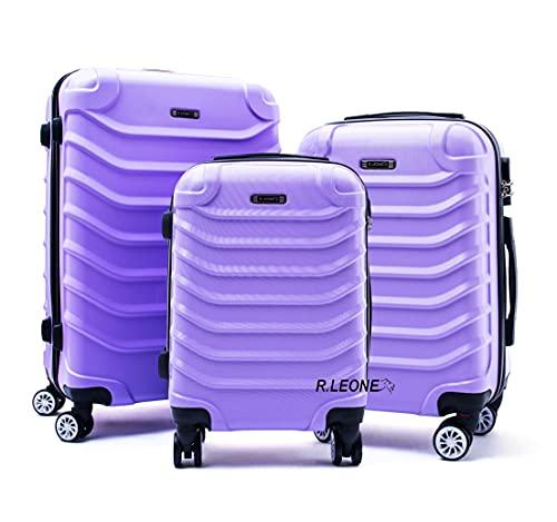 R.Leone Valigia Set 3 Trolley Rigido grande, medio e bagaglio a mano 8 ruote in ABS 2026 (Lilla, Set 3 S M L)