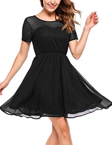 Zeagoo Damen Chiffon Kleid Elegant Sommerkleid Partykleid Festliches Kleid A-Linie Knielang Schwarz...